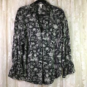 H&M Floral Print Pullover Blouse